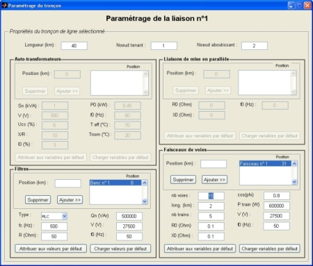 Screenshot of the interface of a Capsim harmonics calculation tool for electric railway lines